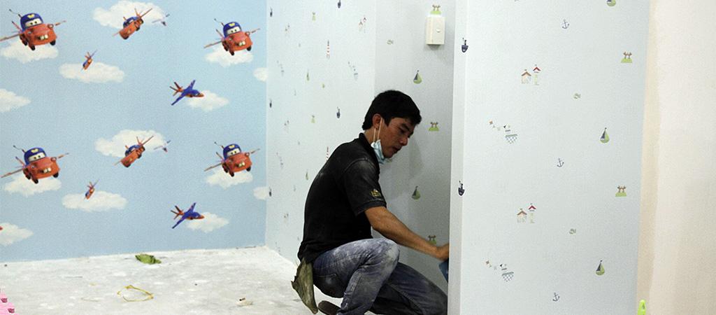 Vải dán tường cho bé yêu