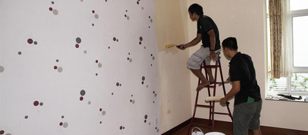 Thi công vải dán tường chung cư Oriental Westlake 174 Lạc Long Quân